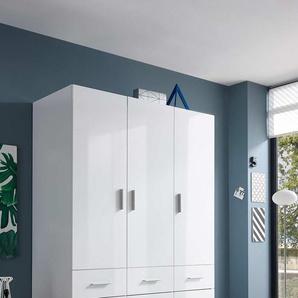 Drehtürenschrank mit Korpus in weiß und Fronten in weiß Hochglanz, 3 Türen und 6 Schubladen, Maße: B/H/T ca. 135/195/57 cm