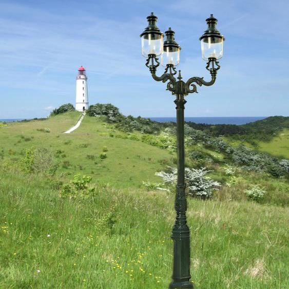 Dreiköpfige Gartenlaterne Aussenlampe im Pariser Stil Hof-Beleuchtung - H.288 cm