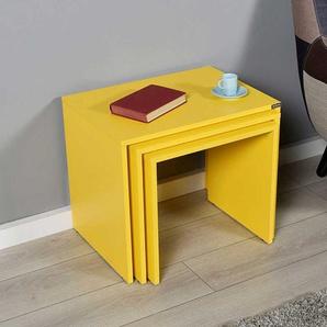 Dreisatz Tisch in Gelb Wangen Gestell (dreiteilig)