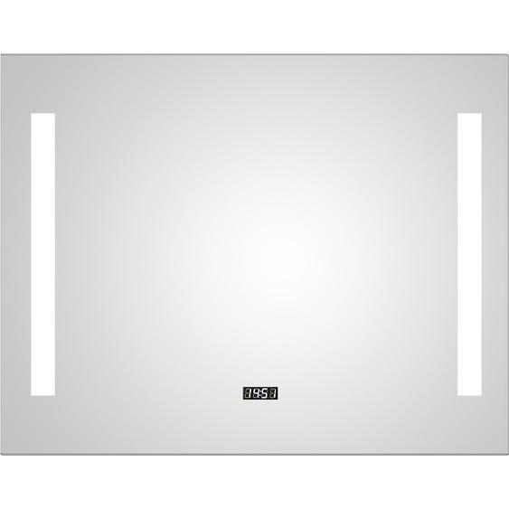 DSK Design LED-Lichtspiegel Silver Time 80 cm x 60 cm