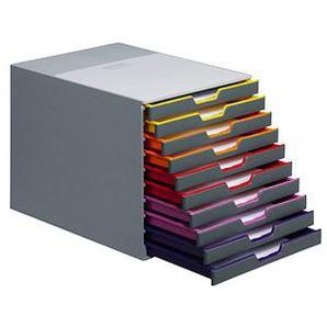 DURABLE Schubladenbox VARICOLOR® dunkelgrau mit bunten Farblinien DIN C4 mit 10 Schubladen