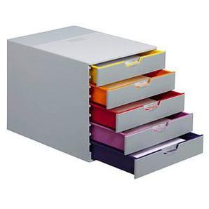 DURABLE Schubladenbox VARICOLOR® dunkelgrau mit bunten Farblinien DIN C4 mit 5 Schubladen