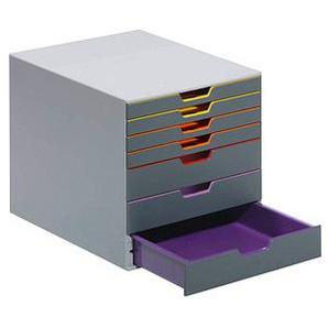 DURABLE Schubladenbox VARICOLOR® dunkelgrau mit bunten Farblinien DIN C4 mit 7 Schubladen