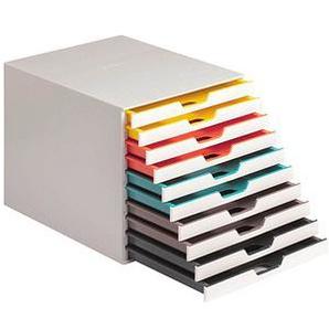 DURABLE Schubladenbox VARICOLOR® weiß mit bunten Farblinien DIN C4 mit 10 Schubladen
