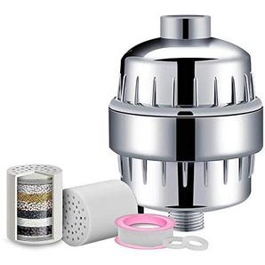 Duschfilter, hohe Ausgangsleistung, 10 Stufen, universeller Duschkopffilter mit 2 Ersatzkartuschen, Wasserreiniger, Hartwasserenthärter – Chrom Free Size silber