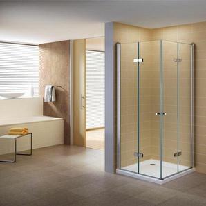 Duschkabine 110x110 Eckkabine mit Falttüren Nano Klarglas - I-FLAIR