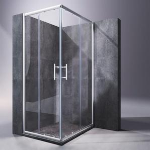 Duschkabine 80x100x195cm Duschabtrennung Eckeinstieg mit Schiebetür ESG Klarglas