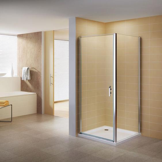 Duschkabine Duschabtrennung Eckkabine NANO-ESG Klarglas DK668 Links und Rechts montierbar 80x80 ( Tür : 80cm )