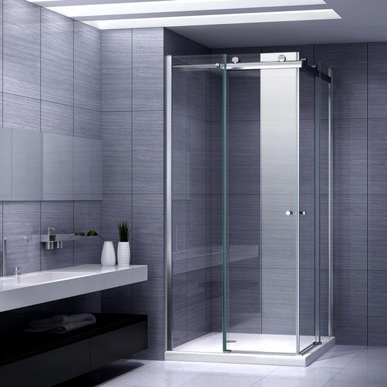 Duschkabine Eckeinstieg Duschabtrennung mit Schiebetüren NANO-ESG Klarglas Höhe: 200cm DK88 90x120 mit Duschwanne - I-FLAIR