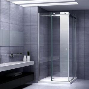 Duschkabine Eckeinstieg Duschabtrennung mit Schiebetüren NANO-ESG Klarglas Höhe: 200cm DK88 95x105 - I-FLAIR