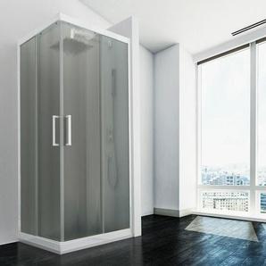 Duschkabine in PVC 80x70 CM H190 Satiniert Chinchilla mod. Lite weißes Profil - IDRALITE