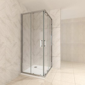 Duschkabine mit Schiebetüren Eckdusche mit Rollensystem aus ESG Glas 190cm Hoch 80x90 - I-FLAIR