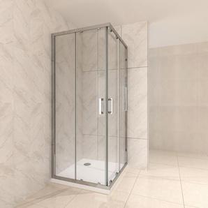 Duschkabine mit Schiebetüren Eckdusche mit Rollensystem aus ESG Glas 190cm Hoch 90x110 - I-FLAIR