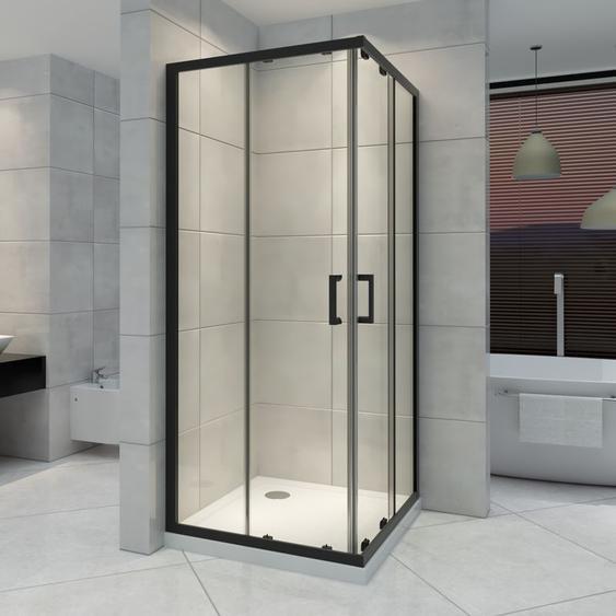 Duschkabine mit Schiebetüren Eckdusche mit Rollensystem aus ESG Glas 190cm Hoch mit schwarze Profile DK79 80x90 mit Duschwanne