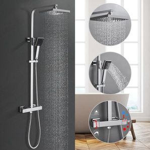 Duschesystem mit Thermostat Regendusche Duschset, Dusche Armaturen Badewanne Wasserhahn Thermostat Badezimmer Dusche Wasserhahn Bad Mischer Wand Montiert Regen Duscheset Mischbatterie Inkl - BONADE