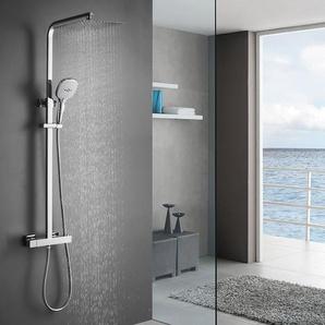 Duschsystem mit Thermostat Regendusche Duschset Edelstahl Duschsäule mit Kopfbrause, 3 Strahlarten Handbrause und Verstellbarer Duschstange Brausegarnitur Duscharmatur Dusche Duschsäule für Bad - WOOHSE