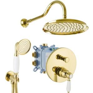 Duschsystem Unterputz Gold Einhandmischer Nostalgie Retro Landhausstil Dusch-Set 25cm - PAULGURKES