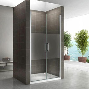 Duschtür 68-140 cm, Duschabtrennung aus 6 mm teilsatiniertem ESG Sicherheitsglas mit Nanobeschichtung und Edelstahlgriffe, Breite: 77-80 cm - Höhe: 195 cm - I-FLAIR