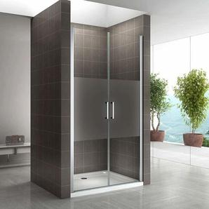 Duschtür 68-140 cm, Duschabtrennung aus 6 mm teilsatiniertem ESG Sicherheitsglas mit Nanobeschichtung und Edelstahlgriffe, Breite: 86-89 cm - Höhe: 195 cm - I-FLAIR