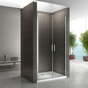 Duschtür 68-140 cm, Duschabtrennung aus 6 mm durchsichtigem ESG Sicherheitsglas mit Nanobeschichtung und Edelstahlgriffe, Breite: 74-77 cm - Höhe: 185 cm - I-FLAIR