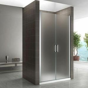Duschtür 68-140 cm, Duschabtrennung aus 6 mm satiniertem ESG Sicherheitsglas mit Nanobeschichtung und Edelstahlgriffe, Breite: 95-98 cm - Höhe: 185 cm - I-FLAIR