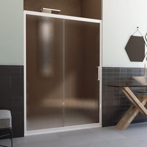 Duschtür in PVC 160 CM H190 Satiniert Chinchilla mod. Glax 1 Tür weißes Profil - IDRALITE
