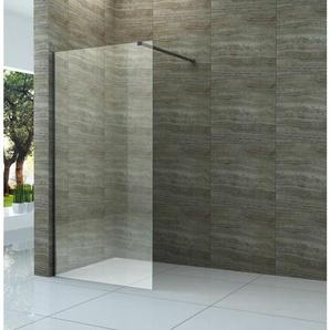 Duschwand DIDIVO mit schwarzen Anbauteilen in 100 x 200 cm