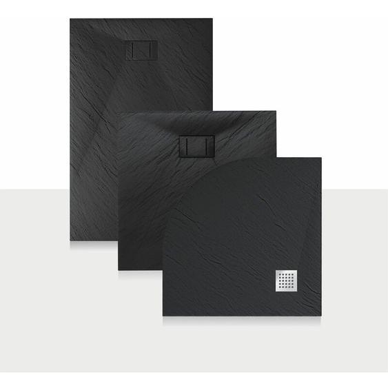 Duschwanne 100x70x2,6 CM Rechteckig Anthrazitfarbe Stein-Effekt Mod. Blend