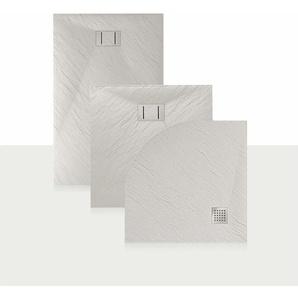 Duschwanne 100x80x2,6 CM Rechteckig Weiß Stein-Effekt Mod. Blend - IDRALITE