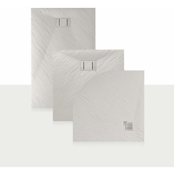 Duschwanne 100x80x2,6 CM Rechteckig Weiß Stein-Effekt Mod. Blend