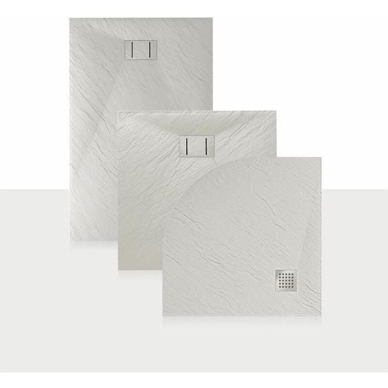 Duschwanne 130x80x2,6 CM Rechteckig Weiß Stein-Effekt Mod. Blend