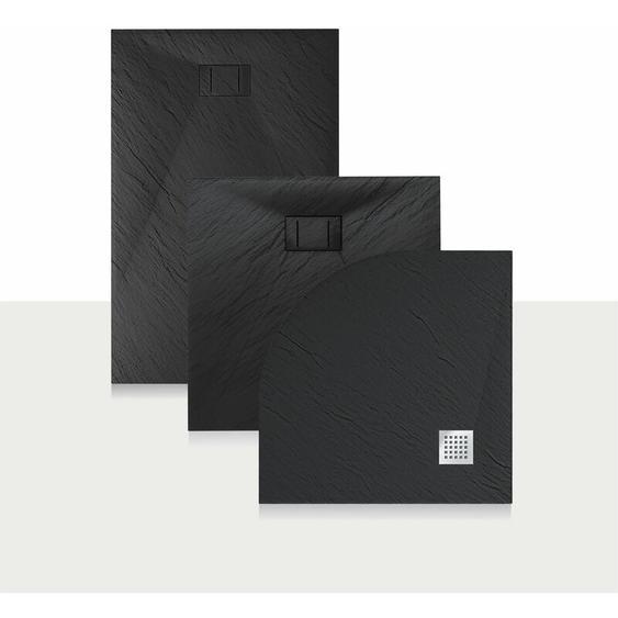 Duschwanne 140x80x2,6 CM Rechteckig Anthrazitfarbe Stein-Effekt Mod. Blend