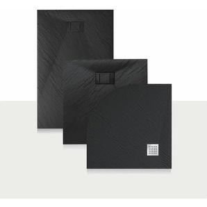 Duschwanne 90x70x2,6 CM Rechteckig Anthrazitfarbe Stein-Effekt Mod. Blend - IDRALITE