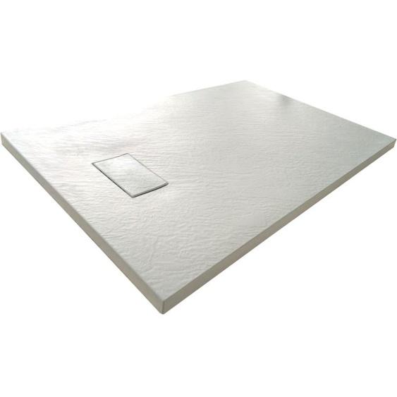 Duschwanne aus SMC Glasfaserkunststoff mit Steineffekt H 2,6 cm inklusive Abfluss 70-110 Weiß