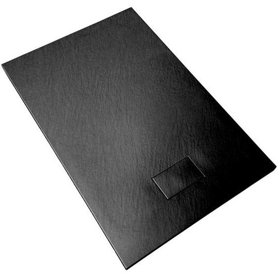 Duschwanne aus SMC Glasfaserkunststoff mit Steineffekt H 2,6 cm inklusive Abfluss 70-150 Schwarz