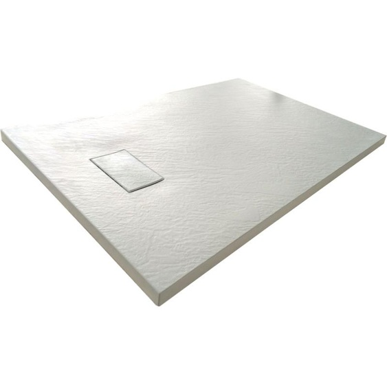 Duschwanne aus SMC Glasfaserkunststoff mit Steineffekt H 2,6 cm inklusive Abfluss 90-90 Weiß
