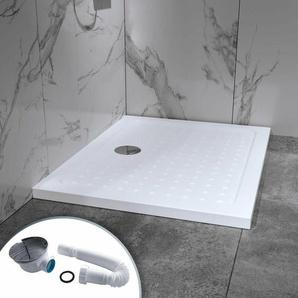 Duschwanne Duschtasse aus Sanitäracryl inkl. Ablaufgarnitur (Syphon) Weiss - Duschwanne mit Gefälle 80x100 - I-FLAIR