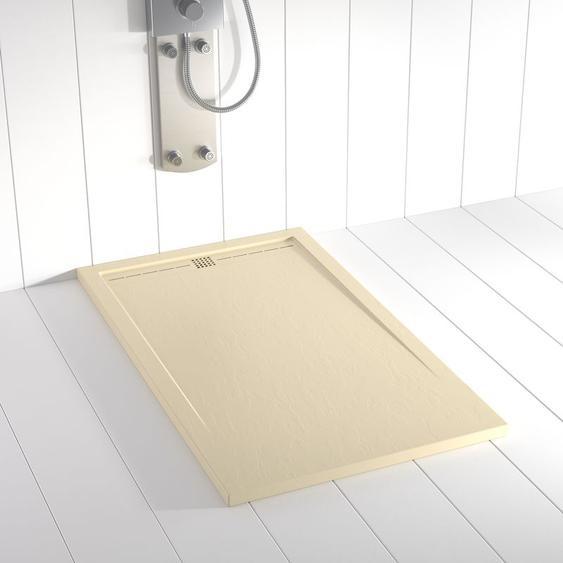 Duschwanne Kunstharz FLOW Crème (Ablaufgitter farbig) - 90x80 cm - SHOWER ONLINE