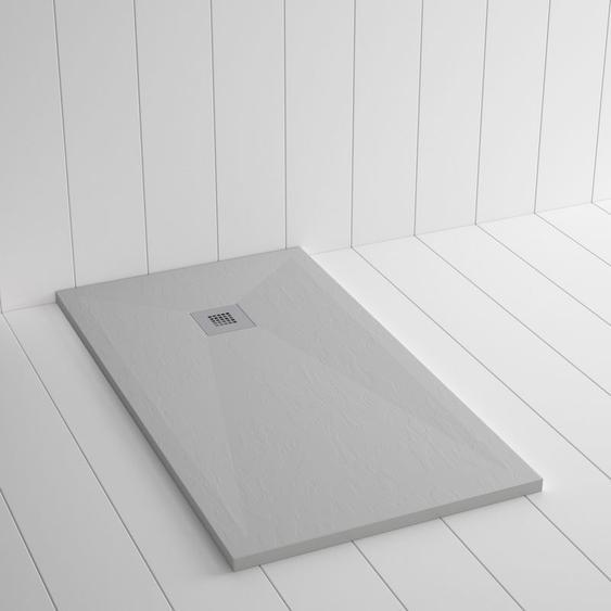 Duschwanne Kunstharz PLES Grau Beton - 100x70cm - SHOWER ONLINE