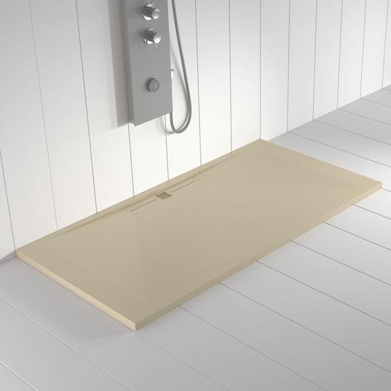 Duschwanne Kunstharz WIDE Crème (Ablaufgitter farbig) - 90x70 cm - SHOWER ONLINE