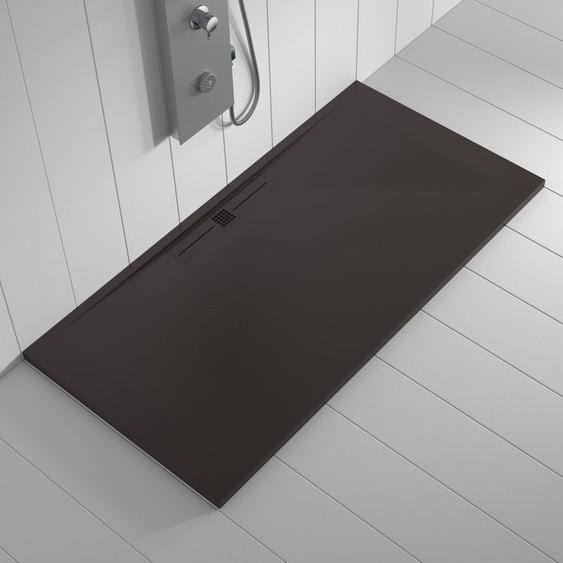 Duschwanne Kunstharz WIDE Schokolade (Ablaufgitter farbig) - 90x70 cm - SHOWER ONLINE