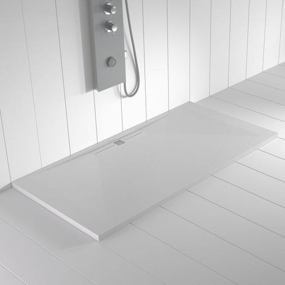 Duschwanne Kunstharz WIDE Weiß (Ablaufgitter farbig) - 100x70cm - SHOWER ONLINE