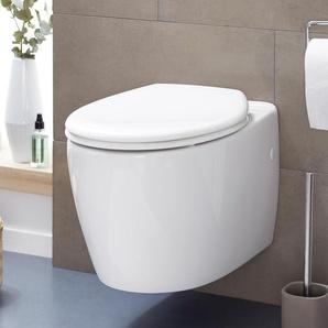 Easy-Close-WC-Sitz mit Absenkautomatik - Weiß - Edelstahl -