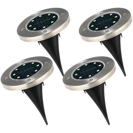 EASYmaxx Solar-Bodenleuchte 4er-Set - mit Erdspieß & Wandsticker - Edelstahl