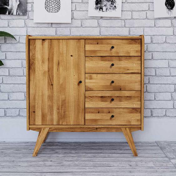 Echtholz Kommode aus Wildeiche Massivholz Retro Design