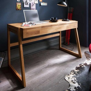 Echtholz Schreibtisch aus Wildeiche ge�lt einer Schublade