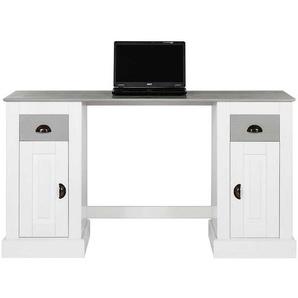 Echtholz Schreibtisch in Wei� und Grau Landhausstil