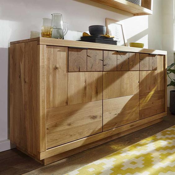 Echtholz Sideboard aus Wildeiche Massivholz 85 cm hoch