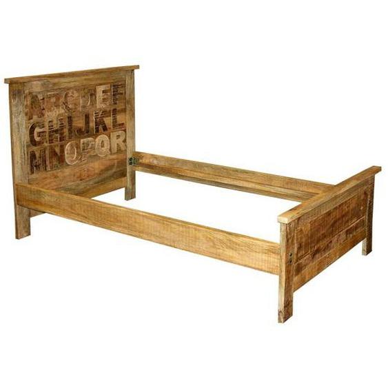 Echtholzbett im Shabby Chic Design 110 cm Kopfteil