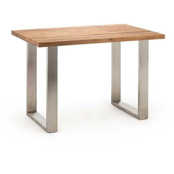Echtholztisch aus Eiche Massivholz und Edelstahl 160 cm breit